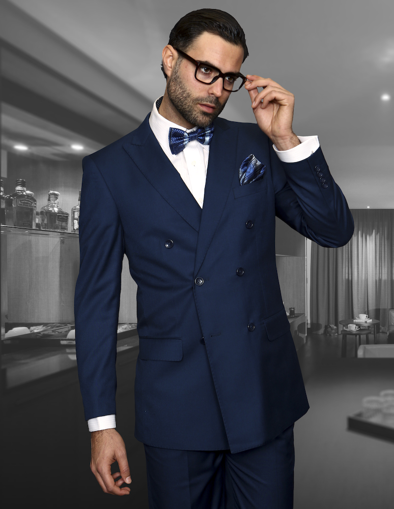 Tzd 100 Indigo Classic Double Breasted Solid Color Mens Suit Super