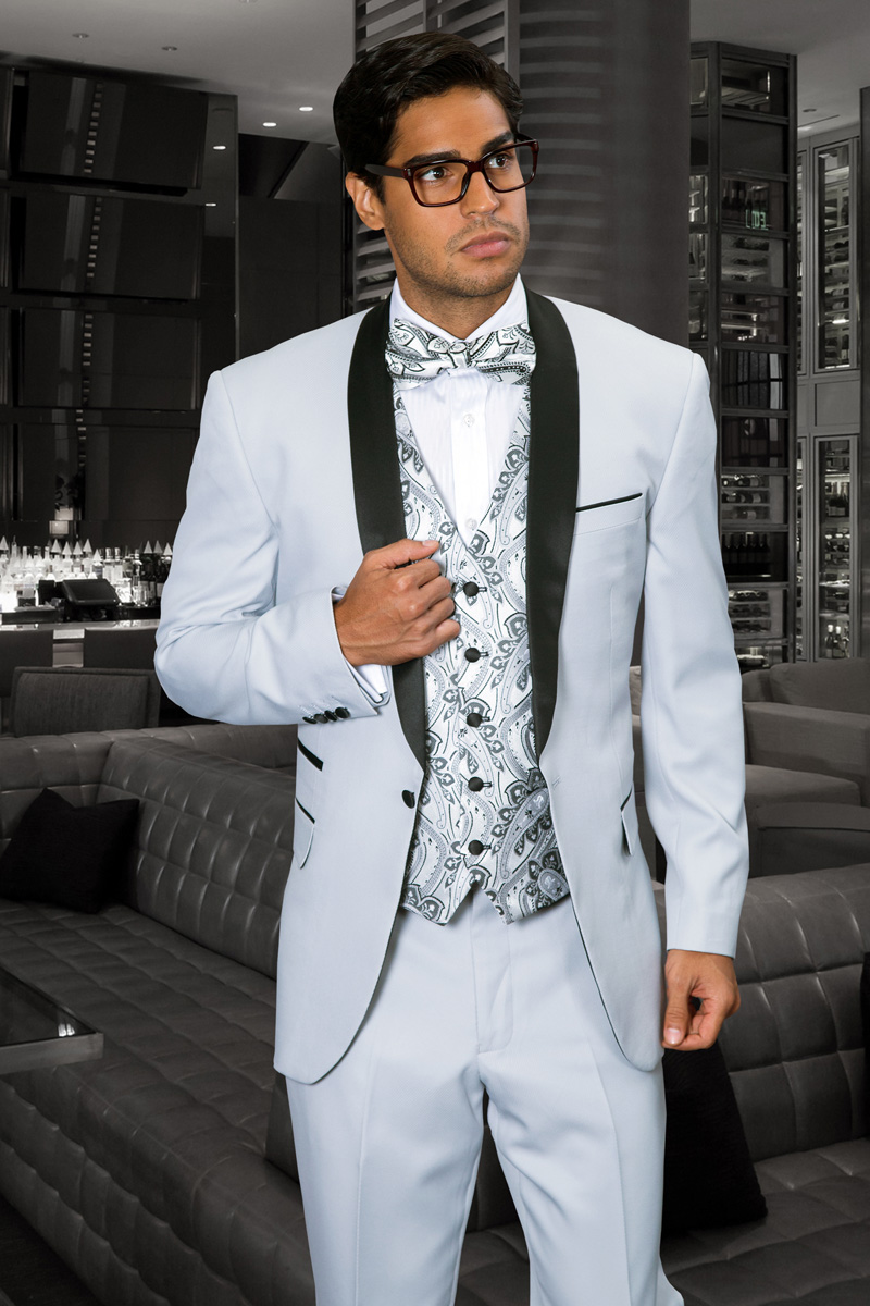 CAPRI SILVER 3PC 1 BUTTON MENS SUIT WITH SATIN COLLAR AND TRIM ON ...