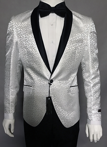 5fe4e515c31 STYLE  006 WHITE MENS WOVEN EXTRA SLIM SPORT COAT WITH SOLID BLACK SATIN  SHAWL COLLAR.