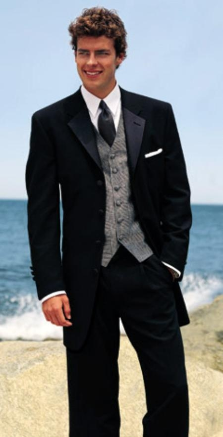 MENS BLACK TUXEDO 4 BUTTON 2PC SUPER 120\'S WOOL VERY NICE FOR A ...