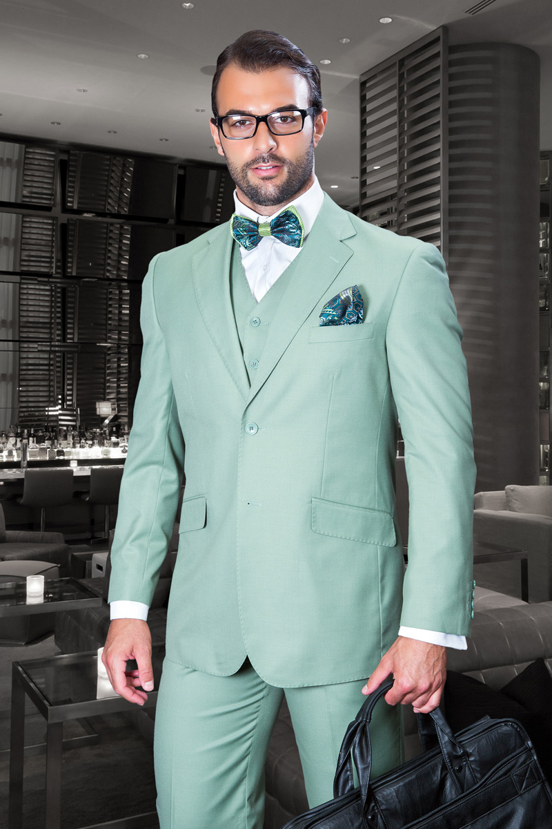 TZ-100 CLASSIC 3PC 2 BUTTON SOLID APPLE GREEN MENS SUIT SUPER 150\'S ...