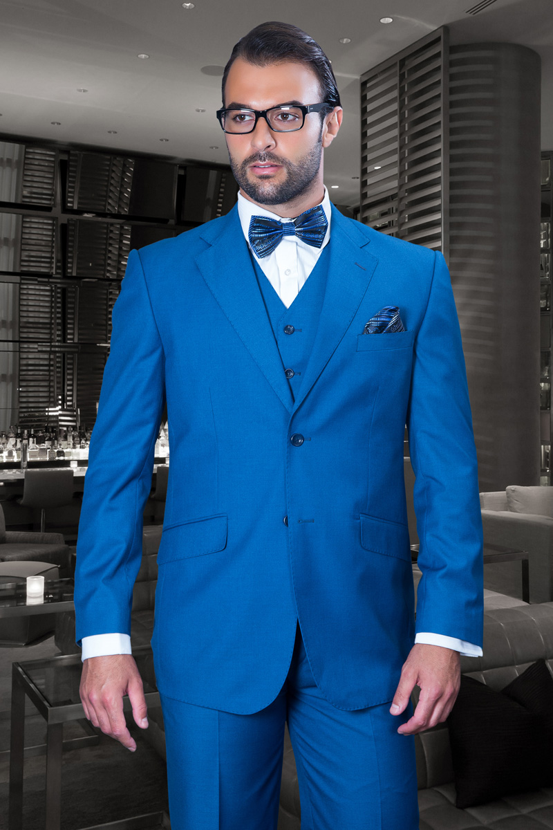 TZ-100 CLASSIC 3PC 2 BUTTON SOLID FRENCH BLUE MENS SUIT SUPER ...