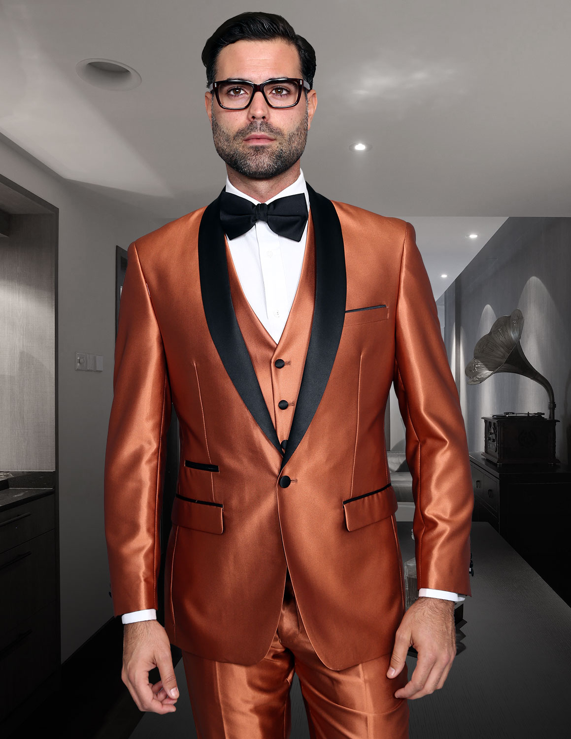 ROME COPPER SHARKSKIN 3PC SUIT WITH FLAT FRONT PANTS MODERN FIT