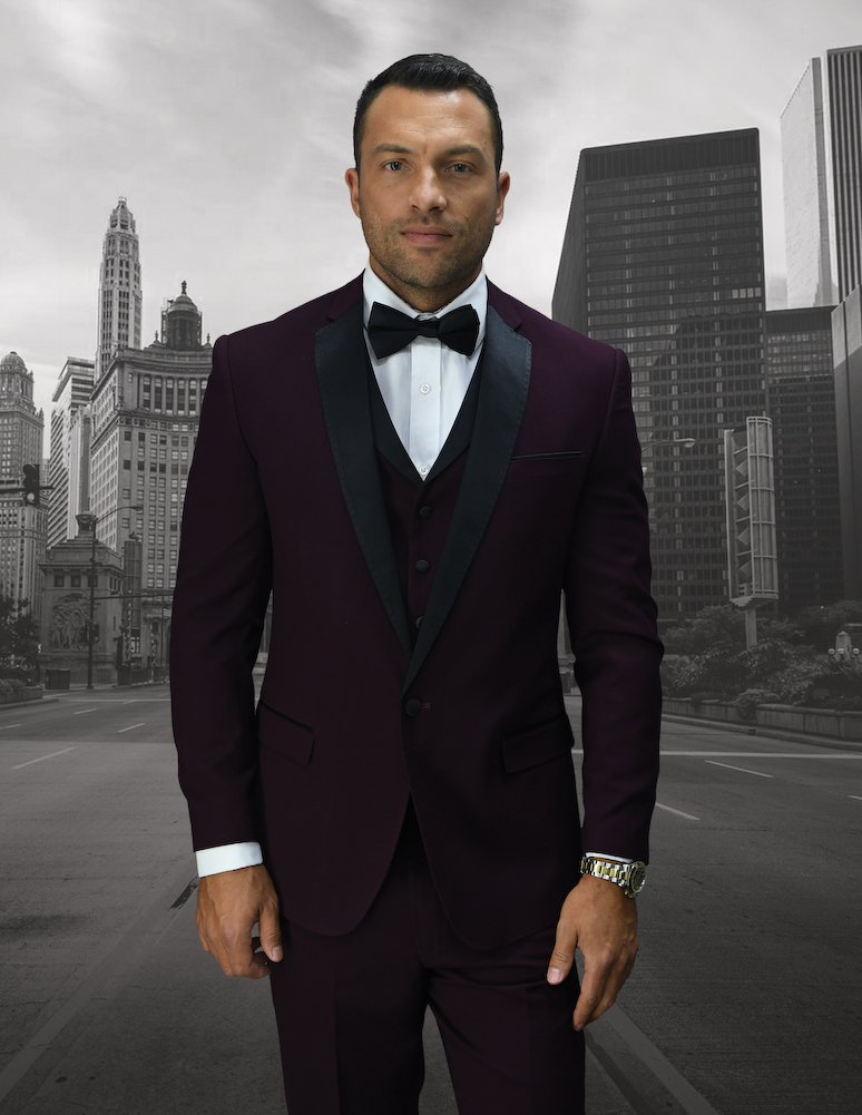 LOOK-6 BURGUNDY 3PC WITH VEST 1 BUTTON MENS SUIT WITH BLACK SATIN LAPEL SUPER 150'S EXTRA FINE ITALIAN FABRIC