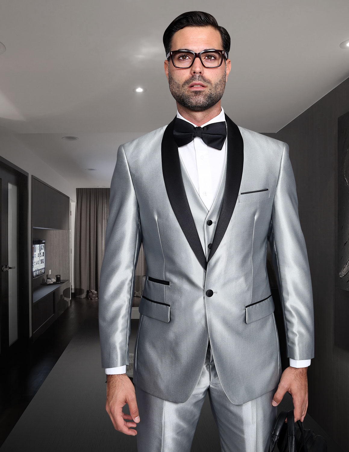 ROME SILVER SHARKSKIN 3PC SUIT WITH FLAT FRONT PANTS MODERN FIT