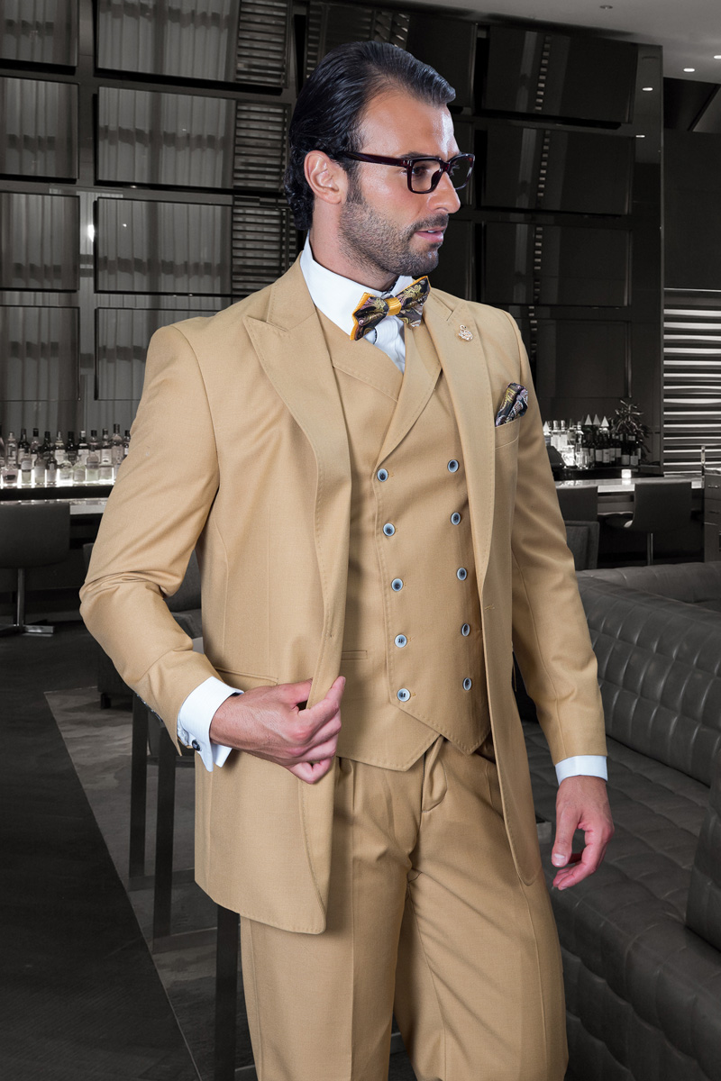 FLORENCE CAMEL COLOR CLASSIC 3PC 2 BUTTON SOLID SUIT WITH DOUBLE BREASTED VEST SUPER 150'S EXTRA FINE ITALIAN FABRIC