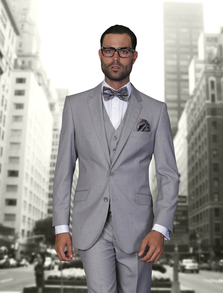 STZV-100 NICE 3PC 2 BUTTON SOLID COLOR GRAY MENS SUIT WITH A VEST SUPER 150'S EXTRA FINE ITALIAN WOOL