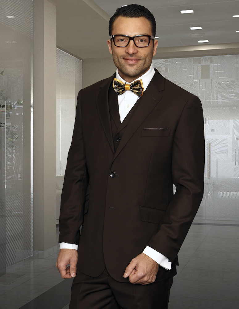 TZP-100 BROWN 3PC 2 BUTTON  SUIT WITH VEST WITH LAPEL HAND MADE  FLAT FRONT PANTS