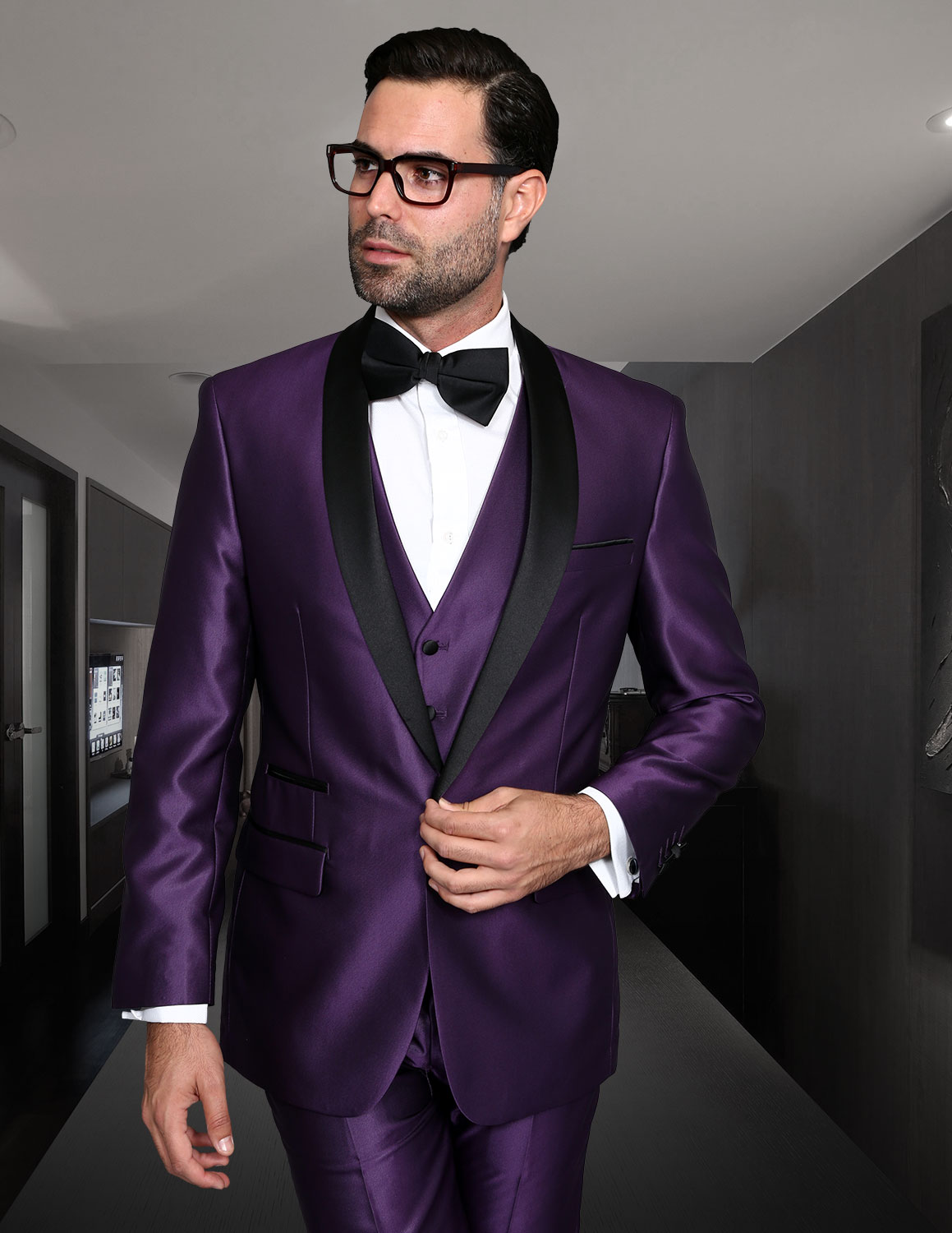 ROME PURPLE SHARKSKIN 3PC SUIT WITH FLAT FRONT PANTS MODERN FIT
