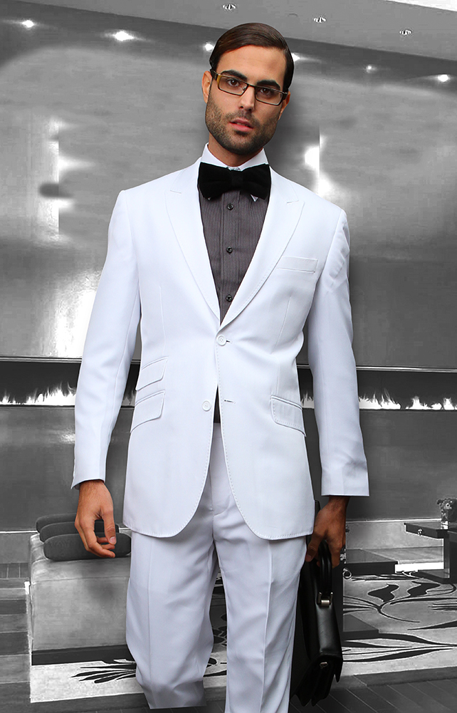 SL-200 WHITE SLIM FIT SUPER 150'S 2PC WOOL SUIT EXTRA FINE ITALIAN MADE.