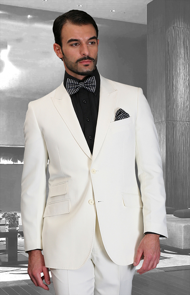 SL-200 OFFWHITE SLIM FIT SUPER 150'S 2PC WOOL SUIT EXTRA FINE ITALIAN MADE.