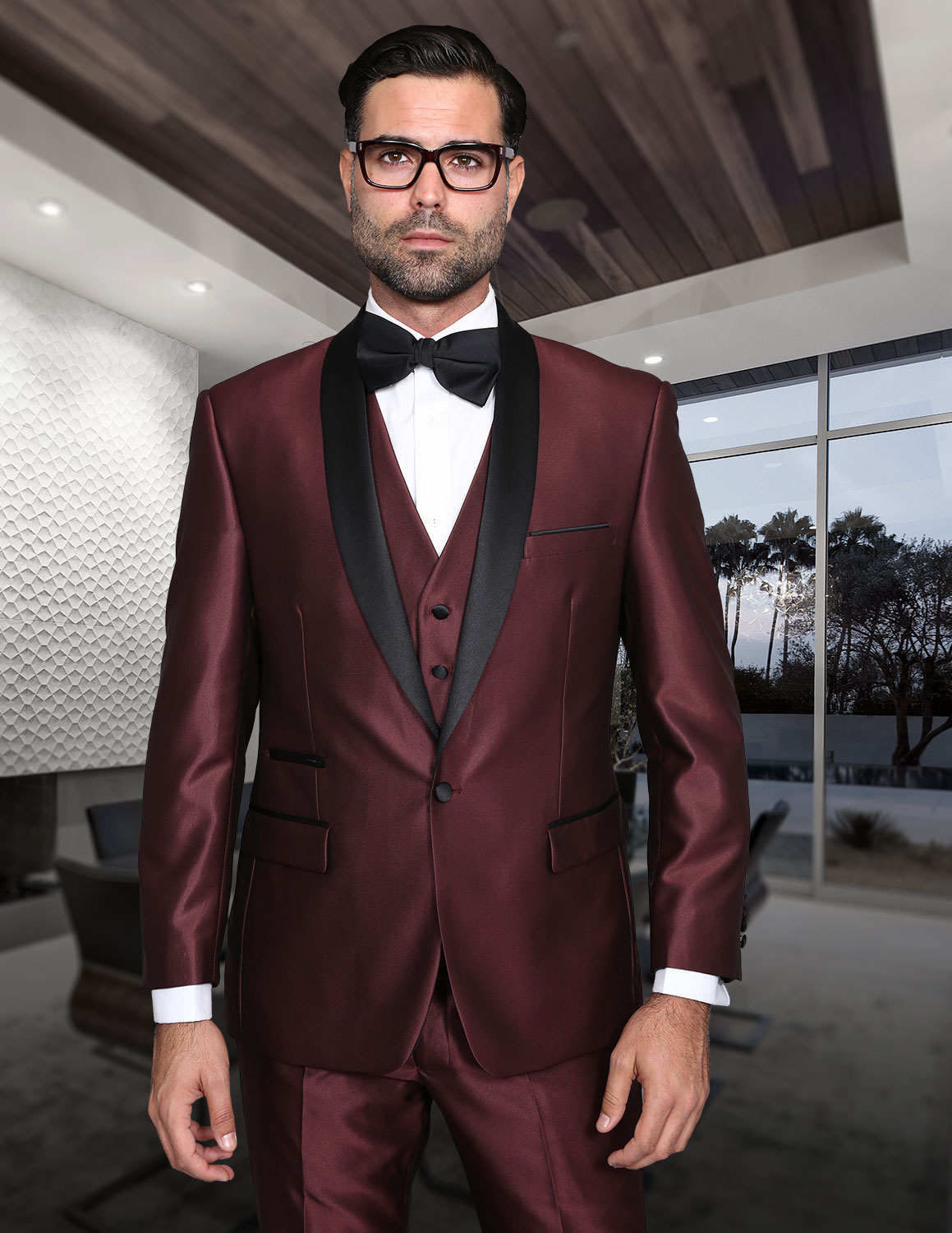 ROME BURGUNDY SHARKSKIN 3PC SUIT WITH FLAT FRONT PANTS MODERN FIT