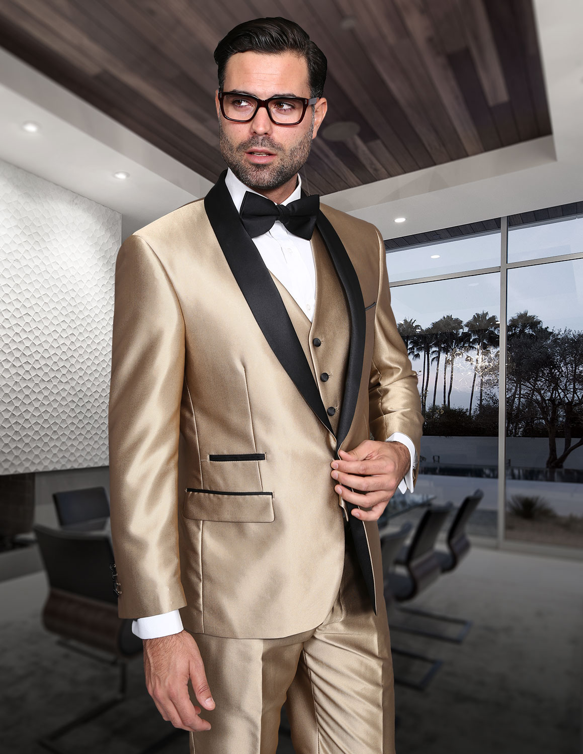 ROME CHAMPAGNE SHARKSKIN 3PC SUIT WITH FLAT FRONT PANTS MODERN FIT