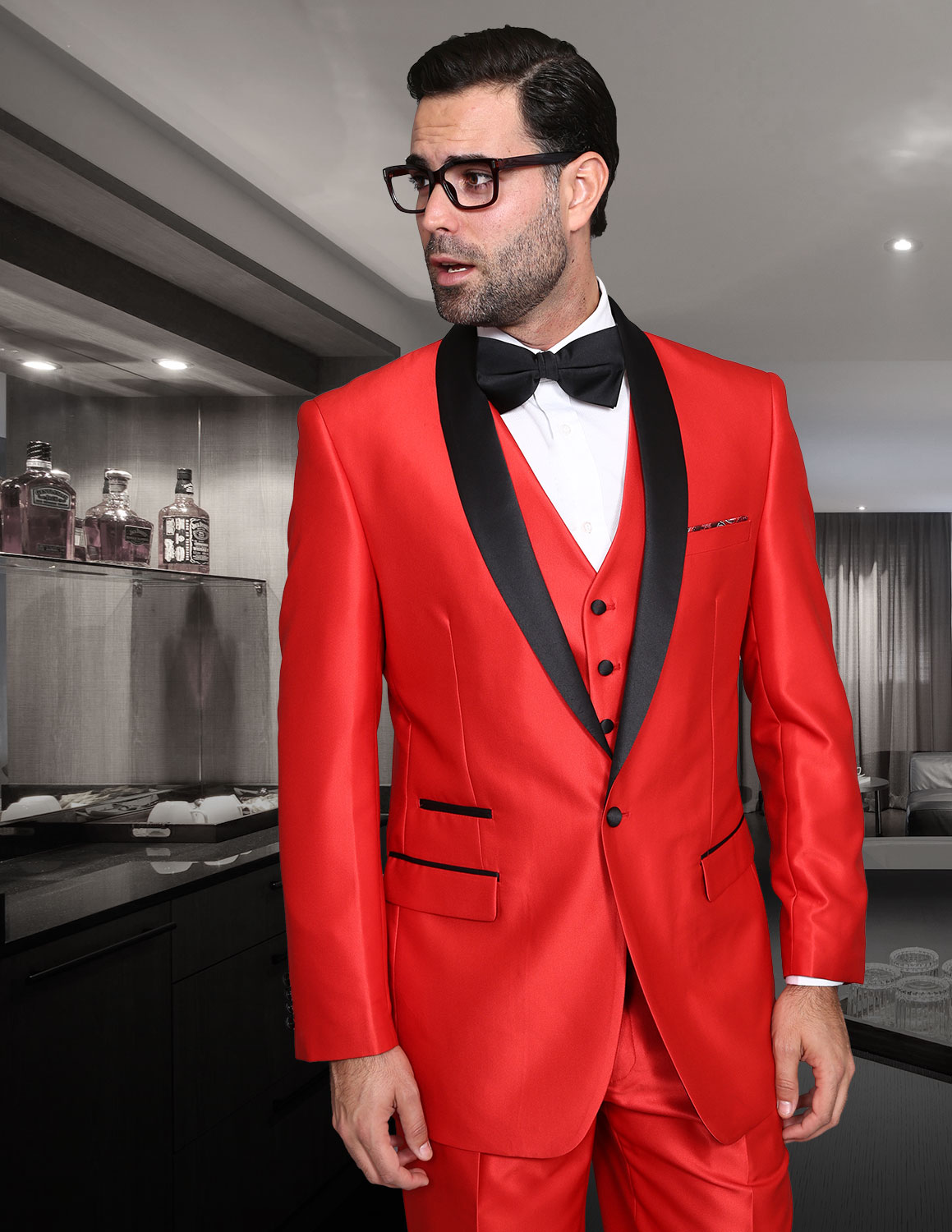ROME RED SHARKSKIN 3PC SUIT WITH FLAT FRONT PANTS MODERN FIT
