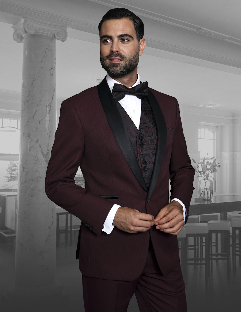 CAPRI BURGUNDY 3PC 1 BUTTON MENS SUIT WITH SATIN COLLAR AND TRIM ON THE POCKET WITH FANCY WOVEN VEST SET