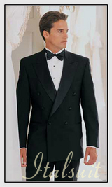 XZX-MENS DOUBLE BREASTED BLACK TUXEDO. SUPER 150'S EXTRA FINE ITALIAN WOOL HAND MADE FRENCH CUT IT'S ONE OF A KIND