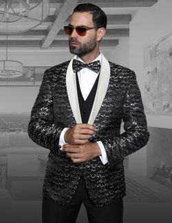 PALAZIO CLASSIC 3PC 1 BUTTON MENS BLACK WOVEN SUIT WITH BLACK SATIN COLLAR SUPER 150'S EXTRA FINE ITALIAN FABRIC