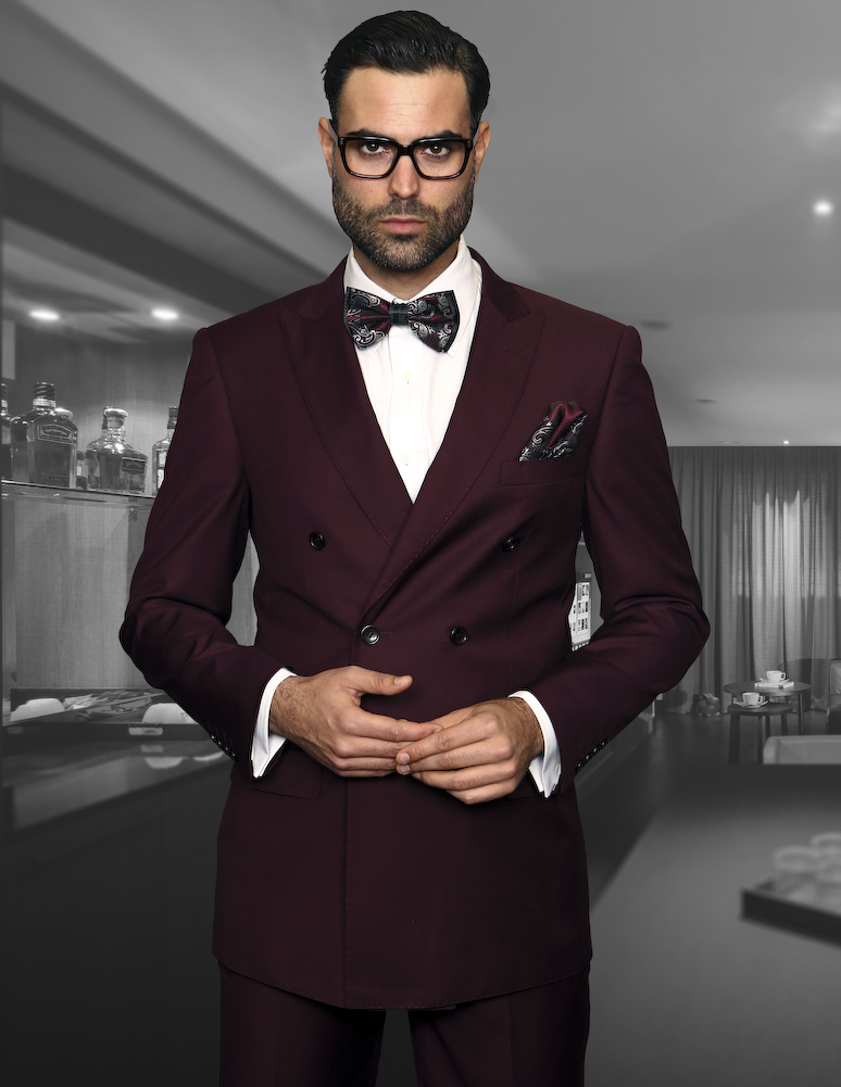 TZD-100 BURGUNDY CLASSIC DOUBLE BREASTED SOLID COLOR MENS SUIT  SUPER 150'S EXTRA FINE