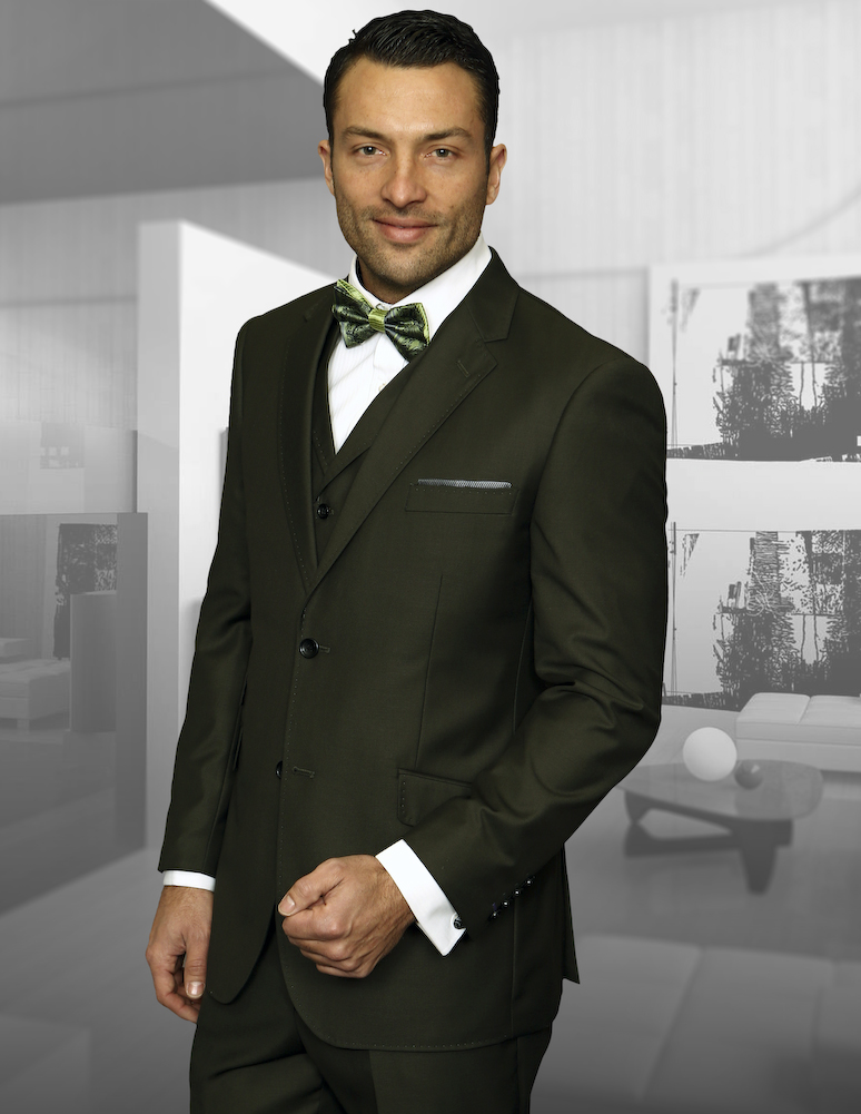 TZP-100 OLIVE 3PC 2 BUTTON SUIT WITH VEST WITH LAPEL HAND MADE  FLAT FRONT PANTS