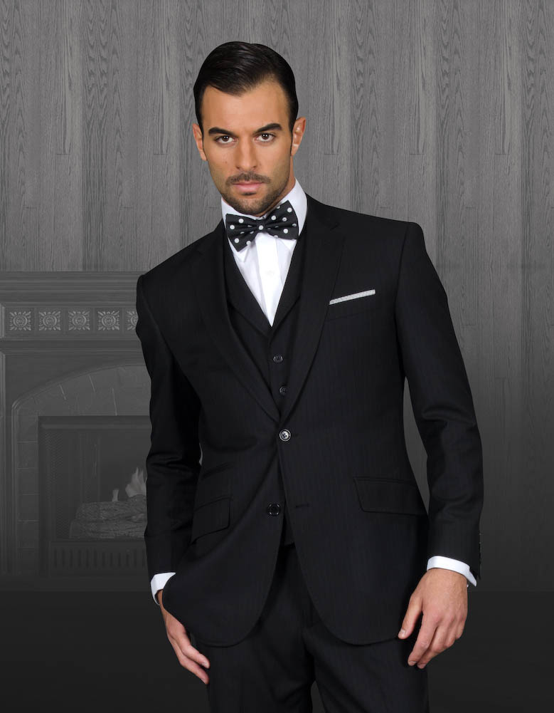 TZP-300 BLACK 3PC 2 BUTTON SHARK SKIN SUIT WITH VEST WITH LAPEL HAND MADE