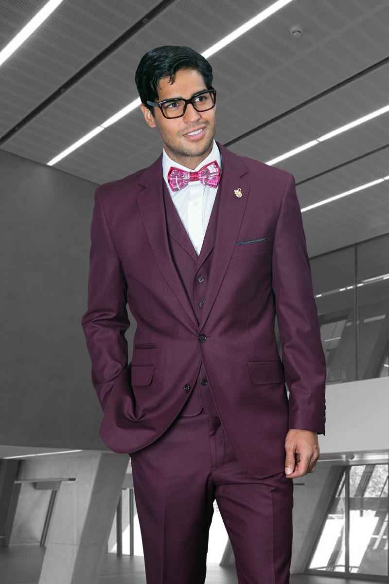 TZP-300 BURGUNDY 3PC 2 BUTTON SHARK SKIN SUIT WITH VEST WITH LAPEL HAND MADE