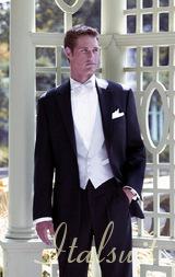 MENS BLACK TUXEDO 2 BUTTON EXTRA FINE SUPER 150'S WOOL WITH NOTCH LAPLE IT A BEAUTY FOR ANY WEDDING